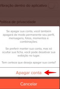 Como apagar eliminar excluir conta perfil tinder passo 5
