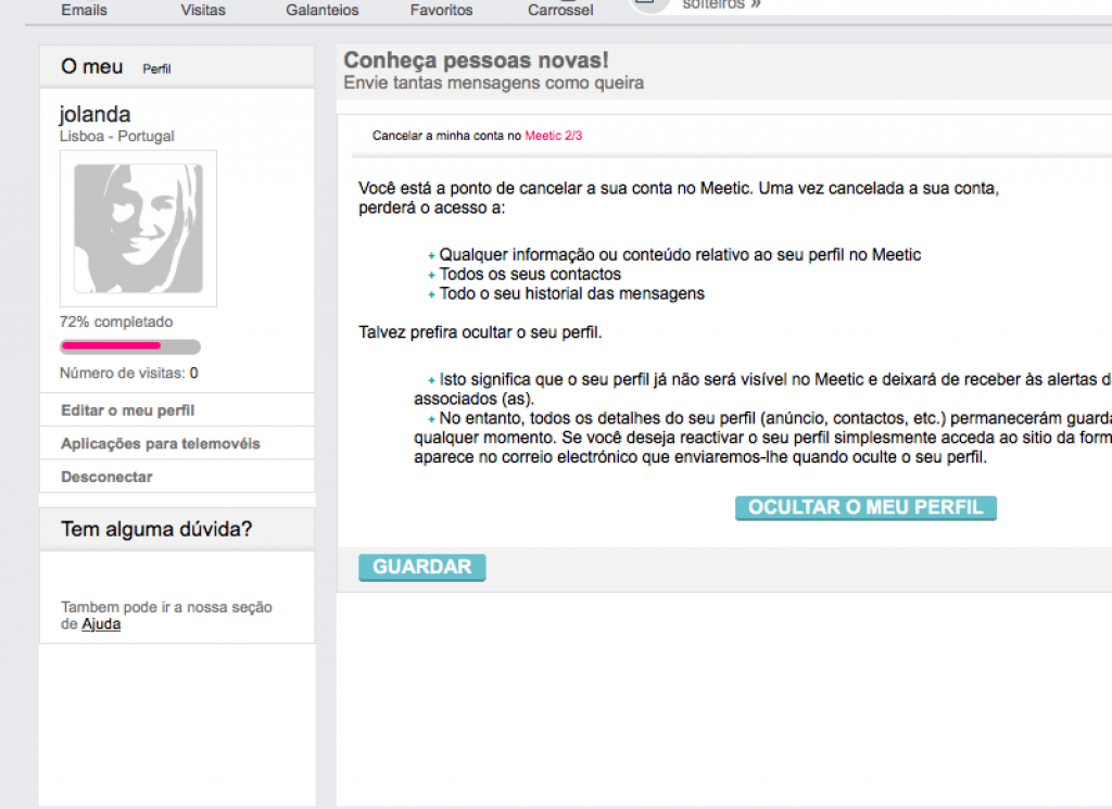 remover deletar apagar eliminar excluir conta perfil do meetic passo 6